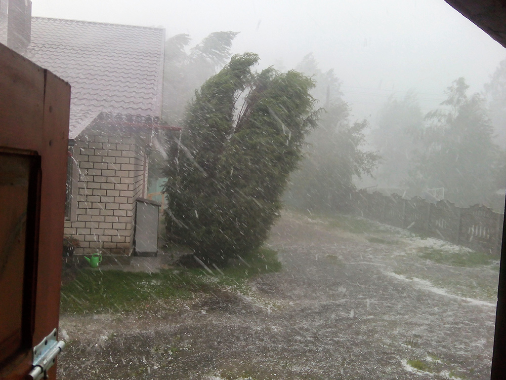 Strong hail storm and flooding