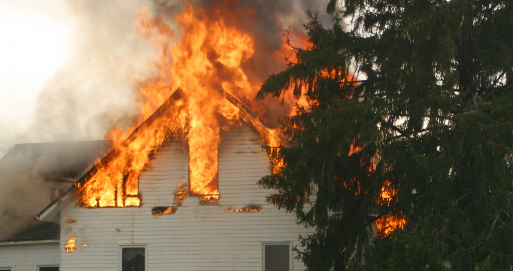 house on fire that will result in a fire damage claim