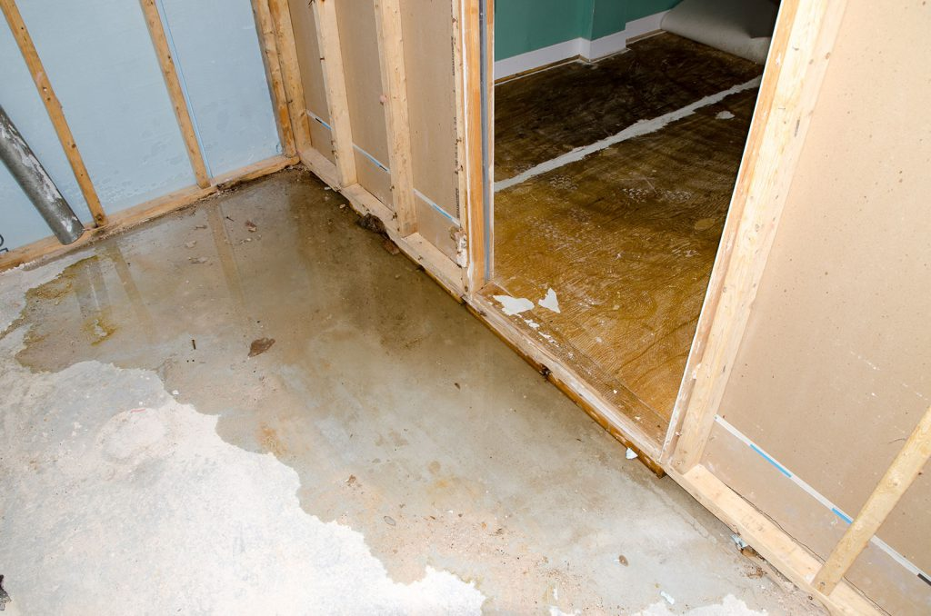 Water pooling on interior floor causing damage