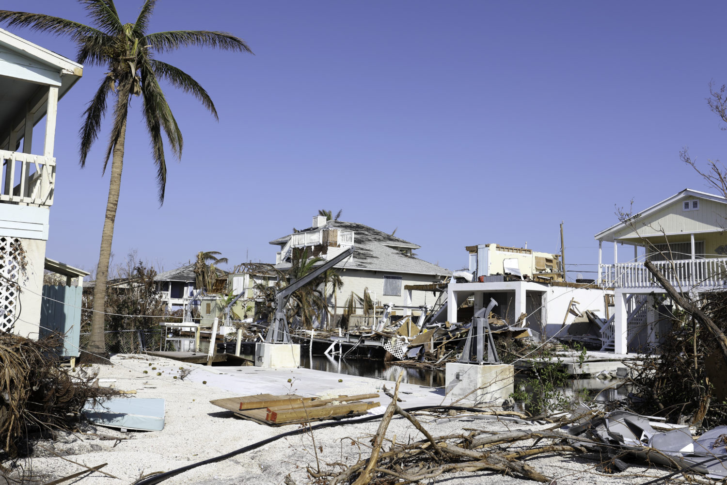 homes heavily damaged by a hurricane