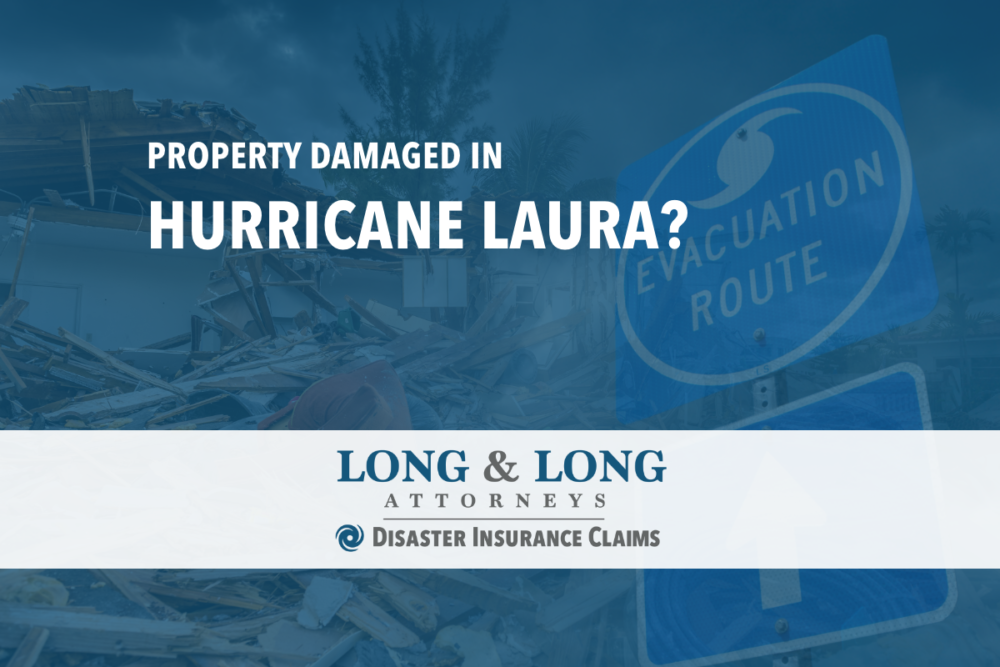 hurricane laura damage with disaster insurance claims logo