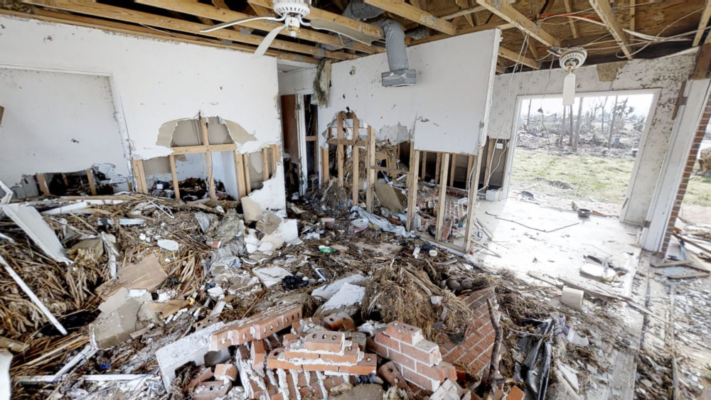 the interior of a house after flood damage related to Hurricane Sally