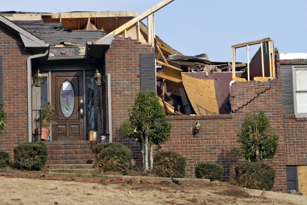 a Birmingham, AL, home heavily damaged by a tornado