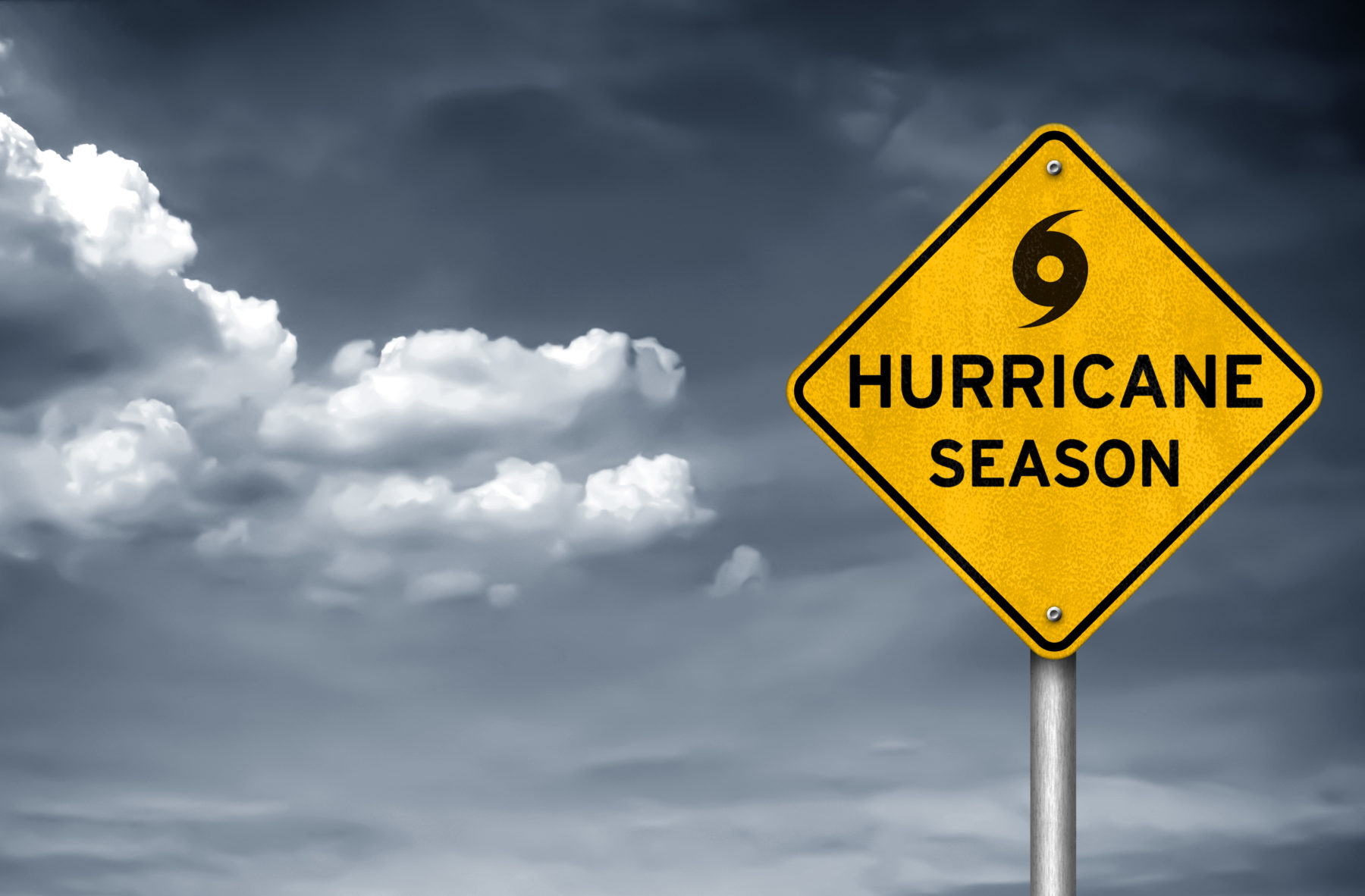 a sign warning of hurricane season