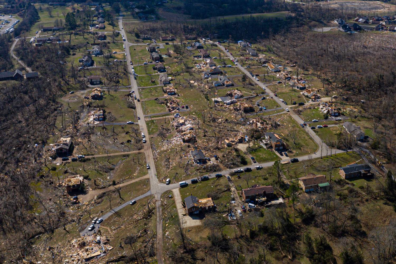 extensive tornado damage in a Birmingham neighborhood