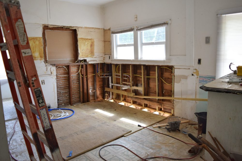 a home being renovated after suffering damage from Hurricane Sally