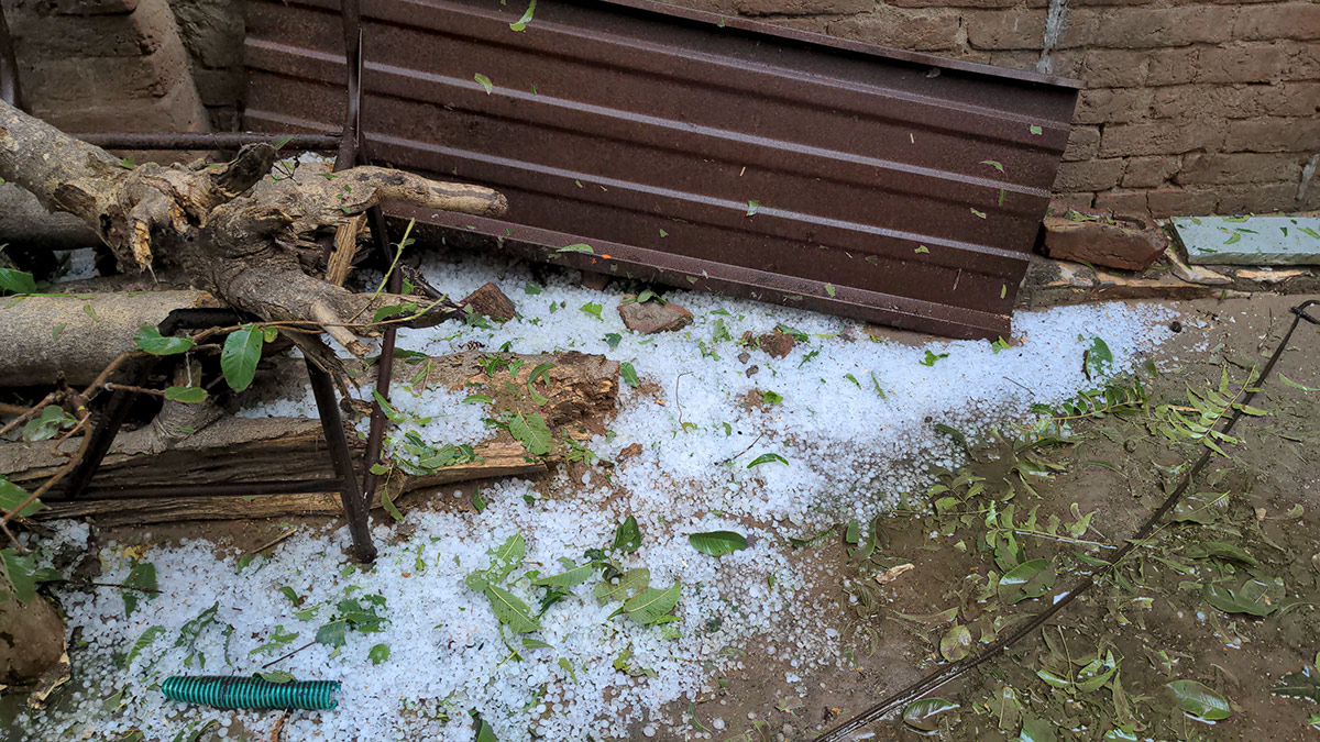 Damage outside house after hail storm