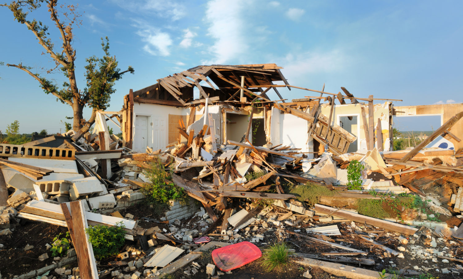 A home severely damaged by a tornado in Alabama