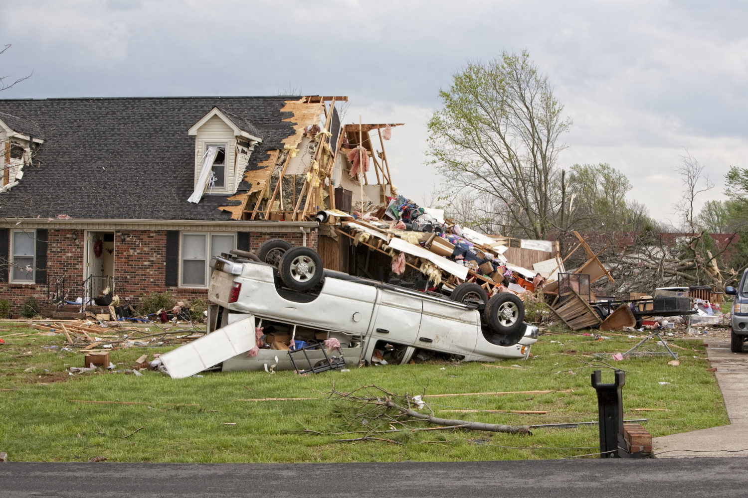 A severely damaged home in Mississippi after a tornado